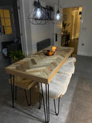 KONTRAST Herringbone Dining Table -  wooden chevron reclaimed wood table with hairpin legs Review