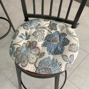 Barnett Home Decor Boutique Floral Blue Bistro Chair Pad - 16 Round Cushion with Ties - Indoor / Outdoor Review