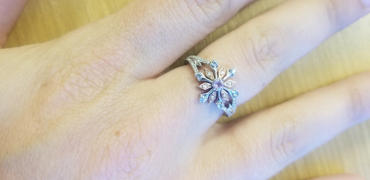 Enchanted Disney Fine Jewelry Enchanted Disney Fine Jewelry 14K Rose Gold over Sterling Silver with 1/6cttw Diamond with Sky Blue Topaz & Rose defiance Elsa Snowflake Ring Review