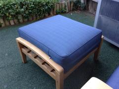 Cambridge Casual Caterina Solid Teak Wood Outdoor Ottoman with Navy Cushion Review