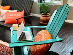 Cambridge Casual Moni Solid Wood Turquoise Adirondack Chair FREE Tray Table Review