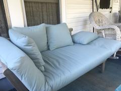 Cambridge Casual Carlota Solid Wood Outdoor Convertible Sofa Day Bed - Weathered Gray/Blue Spruce Cushion Review