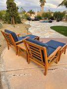 Cambridge Casual Abbington Solid Teak Wood 3 Piece Patio Conversation Set with Navy Cushion Review