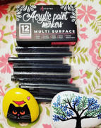 Artistro 12 Black Acrylic Paint Pens for Rock Painting, Ceramic, Wood, Glass, Canvas, Fabric & more Review