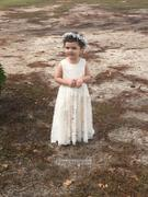 Princessly Ivory Lace Champagne lining Flower Girl Dress with silver sash Review