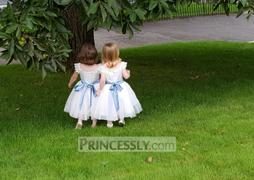 Princessly Ivory Lace Cap Sleeves Tulle Flower Girl Dress with Ivory Sash Review