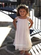 Princessly Lace Cap Sleeves Boho Beach Ivory Chiffon Flower Girl Dress Review