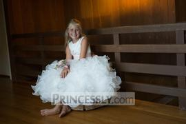 Princessly Ivory Satin Ruffle Organza Skirt TUTU Princess Flower Girl Dress with Navy Blue / Blush Sash Review