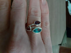 Discovered Three stone ring, three sister ring, blue topaz, garnet, amethyst Review