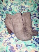 shophearts Almond Toe Stacked Heel Vegan Suede Booties in More Colors Review