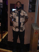 D'IYANU Olu Short Sleeve Mandarin Button-Up African Print Shirt (Black Brown Geometric) Review