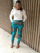 D'IYANU Safina African Print Stretch Fitted High-Waisted Pants (Turquoise Orange Swirls) Review