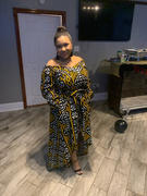 D'IYANU Afua African Print High-Low Off-Shoulder Maxi Dress (Black Gold Mudcloth) Review
