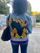 D'IYANU Kele African Print Unisex Denim Jacket with Africa Patch (Gold Maroon Kente) Review