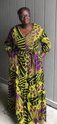D'IYANU Naenia African Print Tiered V-neck Maxi Dress (Purple Yellow Fans) - Clearance Review