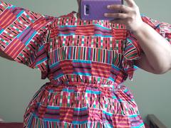 D'IYANU Ayani Peplum Top with Butterfly Sleeve and Tie (Pink Blue Kente) Review