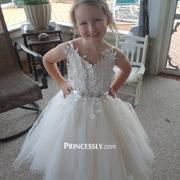 Misdress Ivory lace Tulle Spaghetti straps Wedding Flower Girl Dress with Beaded Belt Review