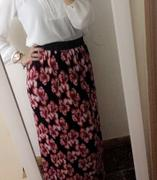 Kabayare Fashion Red Floral Pencil Pleated Skirt Review