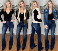 Closet Candy Boutique KANCAN Marissa Exposed Button Flare Jeans - Dark Wash Review