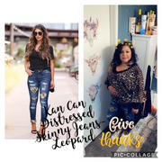 Closet Candy Boutique KAN CAN Distressed Leopard Skinny Jeans - Dark Wash Review