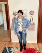 Closet Candy Boutique Low Key Distressed Plaid Shirt - Cobalt Review