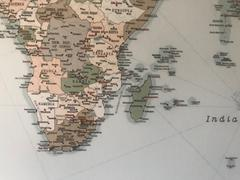 Trip Map Push Pin World Map - Vintage light blue / brown (Detailed) Review