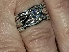 Kobelli Round Moissanite and Channel-set Diamond Trellis Bridal Rings 1 3/4 CTW 14k White Gold - 3 Piece Set (DEF/VS, GH/I) Review