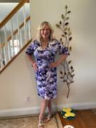 Connected Apparel Gina Lavender Floral Faux Wrap Dress Review