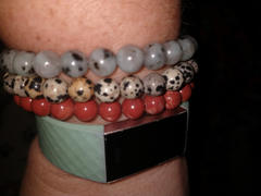 Satin Crystals Jasper Bracelet Set Fun Lover of Life Trio in Dalmation, Red, Sesame Review