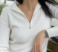 J.ING Basic Ivory Zip-Up Sweater Review