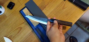 JapaneseChefsKnife.Com Fu-Rin-Ka-Zan Aogami Super Kurouchi Series Wa Petty (120mm and 150mm, 2 sizes, Octagon Shaped Red-Sandal Wood Handle) Review
