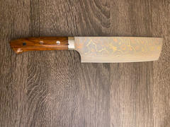 JapaneseChefsKnife.Com Master Saji Rainbow Damascus Series Nakiri 165mm (6.4 inch, Ironwood Handle) Review