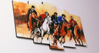 Framer.pk 5 Panels Canvas Painting of Men on Powerful Horses Printed size 52 x 28 inches Review