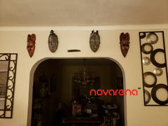Novarena Set of (3) Masks :12 - 13 African Gabon Cameroon Wood Fang Masks: Brown and Black Review