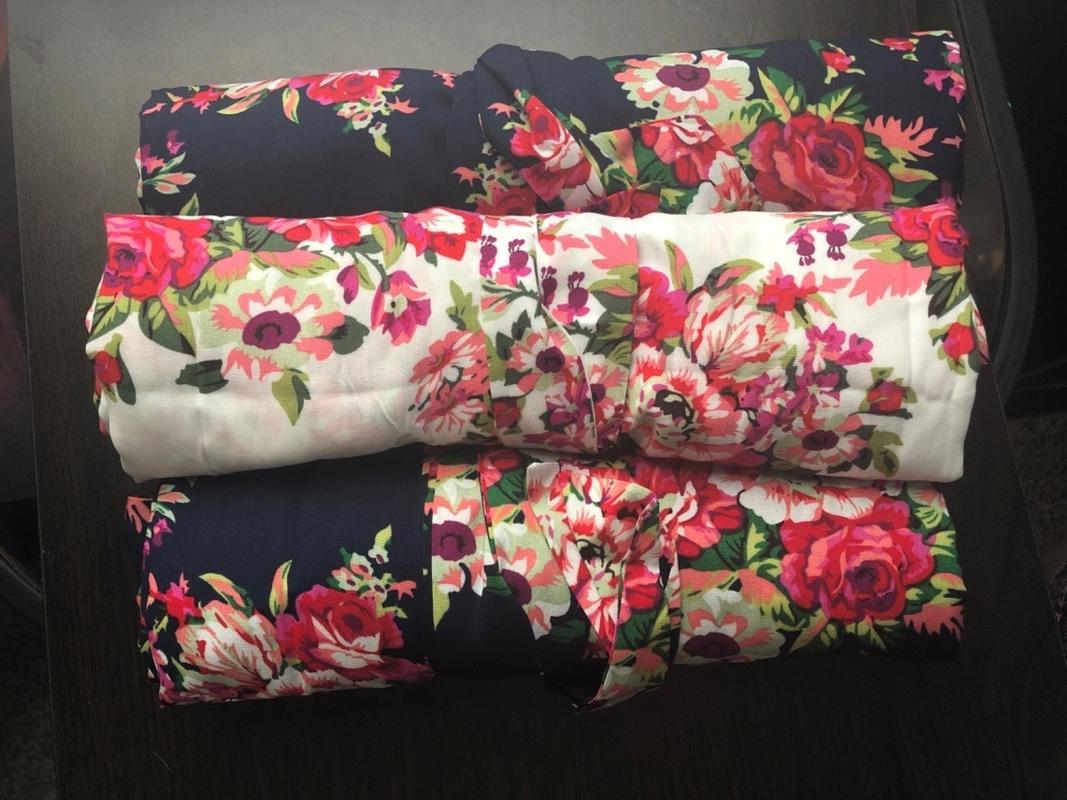 Floral Bridesmaid Robe Kennedy Blue