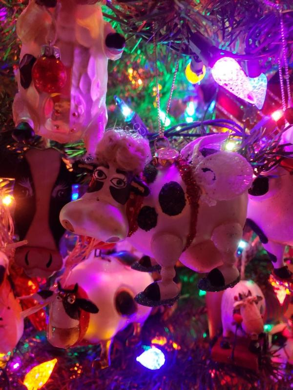 Cow with the Wings Blown Glass Christmas Ornament