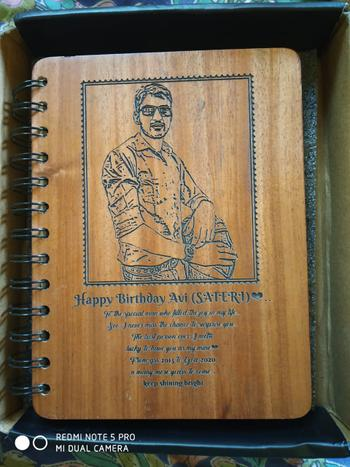 Woodgeek store Happy Birthday Personalised Diary With Photo - Wooden Notebook Review