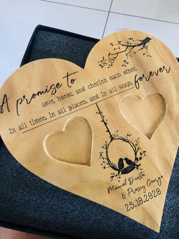 Woodgeek store A Promise To Love Heart Ring Holder - Wooden Wedding Ring Holder & Engagement Tray Review