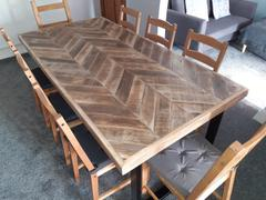 KONTRAST Herringbone Dining Table -  wooden chevron reclaimed wood table with box section legs Review
