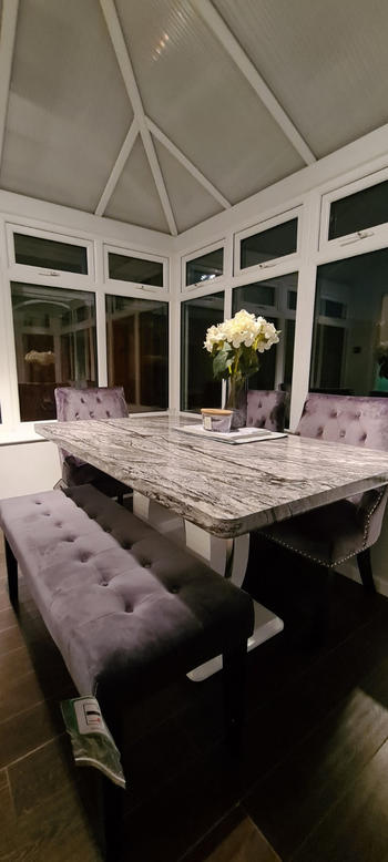 Willow Bay Home & Garden Shankar | Neptune Medium Marble Effect Top High Gloss Grey/White Dining Table Review