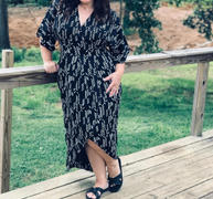 Symbology Stylized Feather Wrap Dress in Black + Cream Review
