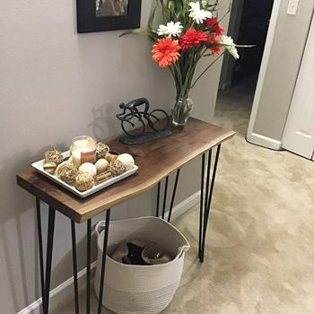 Artisan Born Narrow Console Table in Solid Walnut or Maple with Hairpin Legs - Farmhouse Wall Mounted Entry Table Review