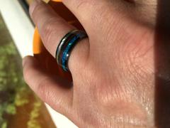 HappyLaulea HI-TECH Black Ceramic Ring with Abalone Shell, Koa Wood & Opal Inlay - 8mm, Dome Shape, Comfort Fitment Review