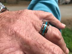 HappyLaulea Tungsten Carbide Ring with Crushed Turquoise & Hawaiian Koa Wood Inlay - 8mm, Dome Shape, Comfort Fitment Review