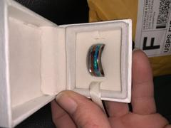 HappyLaulea Tungsten Carbide 8mm Ring with Abalone Shell, Koa Wood, & Blue Opal Tri-Inlay - Dome Shape, Comfort Fitment Review
