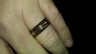HappyLaulea Black Tungsten with Gold Strip Ring with Abalone Shell & Hawaiian Koa Wood Tri-Inlay - 8mm, Dome Shape, Comfort Fitment Review