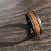 HappyLaulea Black Tungsten Crossed Brushed Ring with Hawaiian Koa Wood Inlay - 8mm, Flat Shape, Comfort Fitment Review