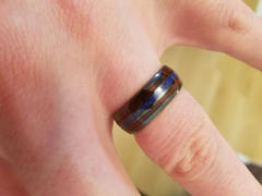 HappyLaulea Black Ceramic Ring with Koa Wood & Lapis Tri-Inlay - 8mm, Dome Shape, Comfort Fitment Review