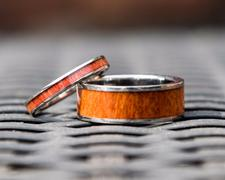 HappyLaulea Titanium Wedding Band Set with Tulip Wood Inlay Review