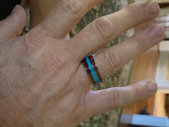 HappyLaulea Tungsten Carbide 10mm Ring with Koa Wood and Turquoise Inlay Review